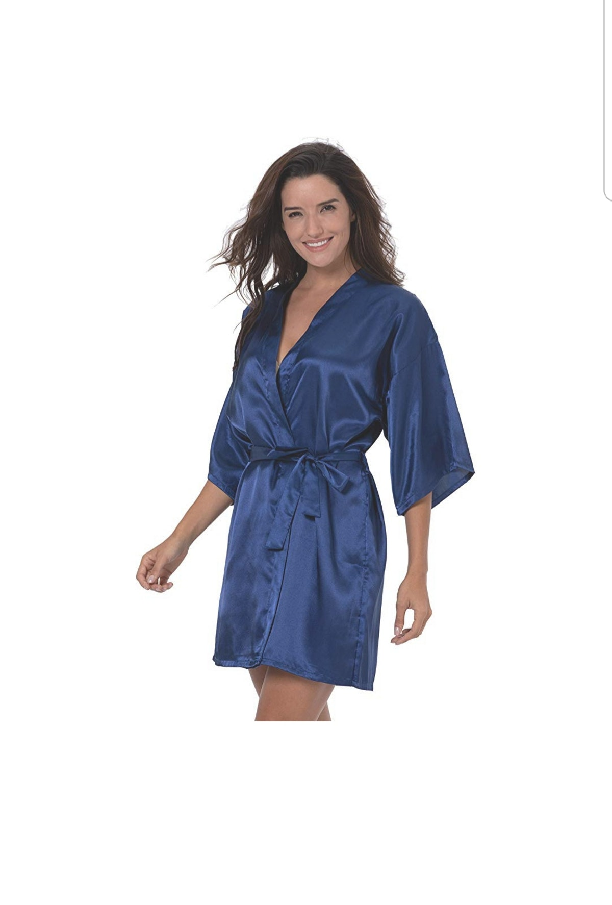 ShinyLuck Women's Satin Short Kimono Robe Solid Color Dressing Gown Bridal Party Robe