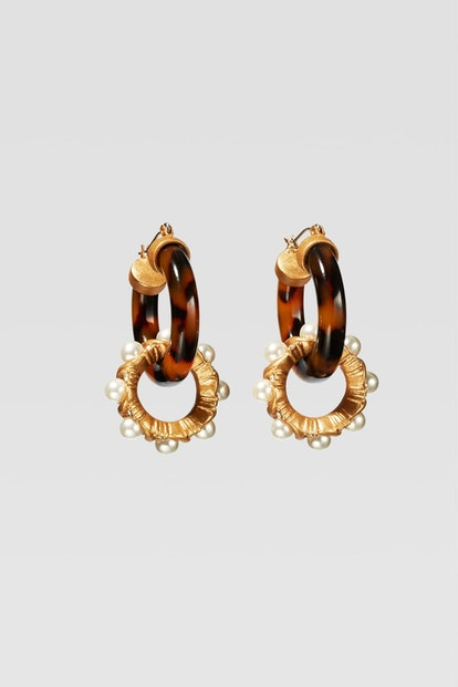 Limited Edition Tortoiseshell And Pearl Hoop Earrings