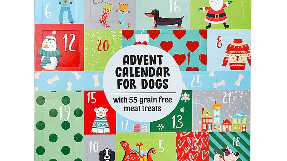 Advent calendar for dogs filled with dog treats from Sam's Club