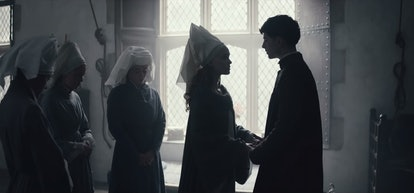 Lily-Rose Depp as Catherine and Timothee Chalamet as Henry V in The King