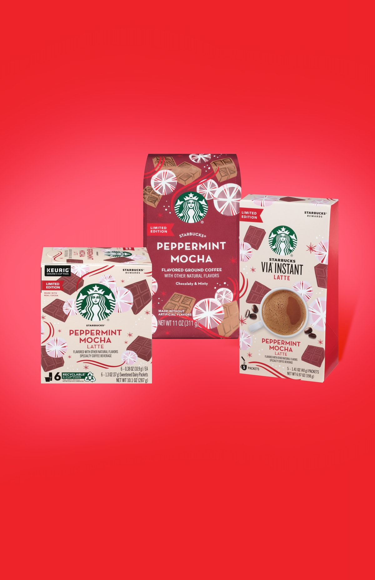 Starbucks' At-Home Holiday 2019 Coffee Collection has three different options for a Peppermint Mocha at home.
