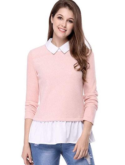 Allegra K Women's Peter Pan Collar Pullover Sweater