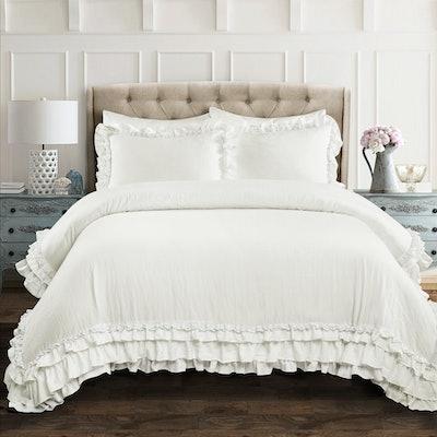 Ella Shabby Chic Ruffle Lace Comforter Set