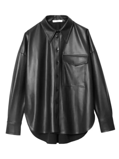 Faux Leather Utility Shirt