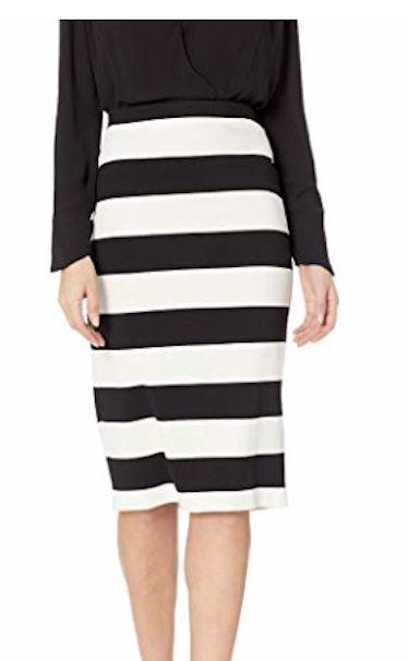 Women's Black N Ivory Stripe Pencil Skirt