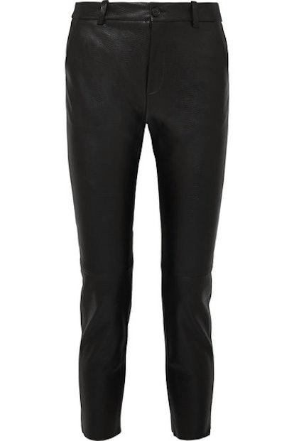 Montauk Cropped Lizard-Effect Leather Slim-Leg Pants