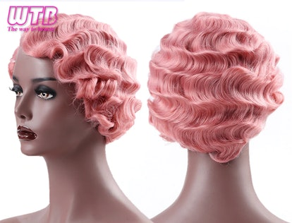 WTB Synthetic Short Curly Pink Cute Wig for Red Finger Waves