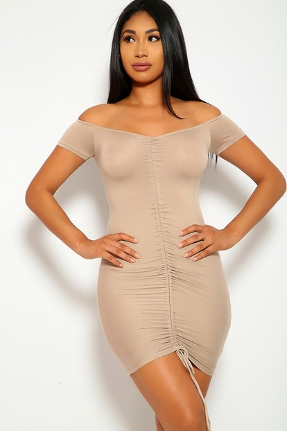 Sexy Beige Ruched Bodycon Dress