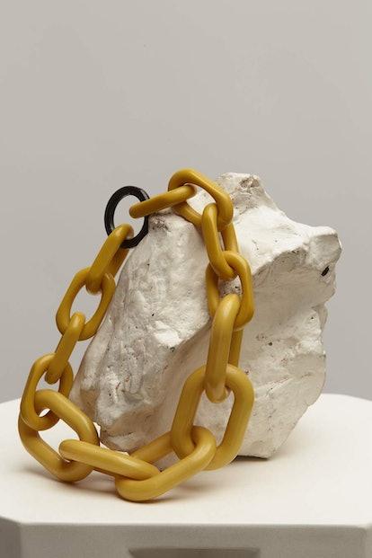 Yellow Acrylic Chunk Chain Necklace
