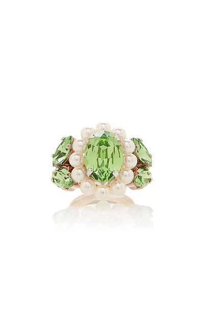 Large Peridot and Pearl Cameo Ring