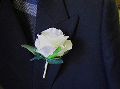 White Silk Rose Boutonniere with Cream Ribbon