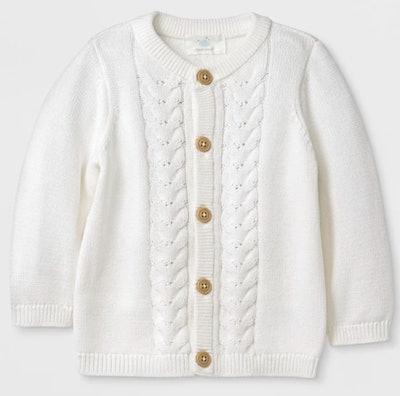 Baby Long Sleeve Cardigan - Ivory