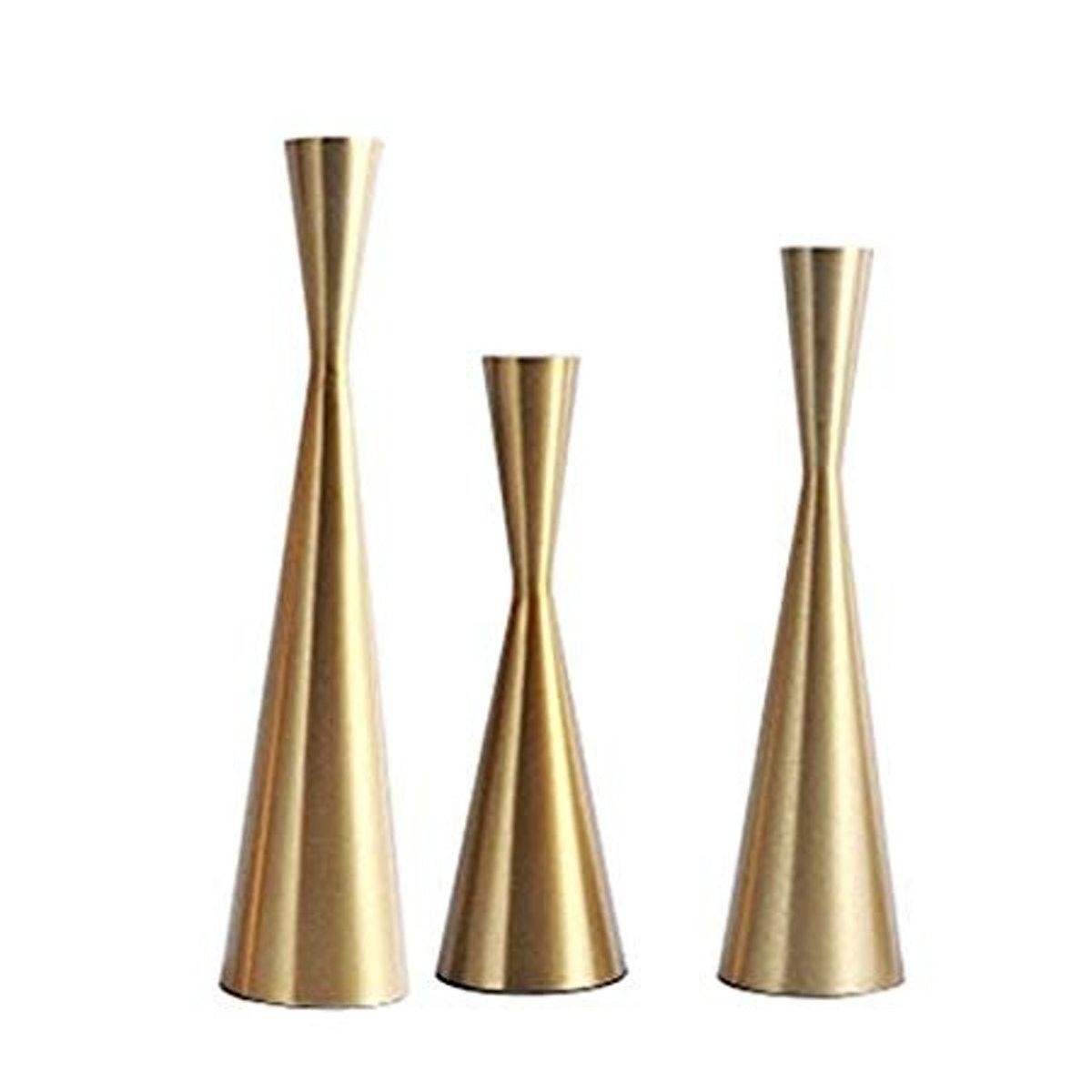Minimalist Brass Candlesticks (Set of 3)