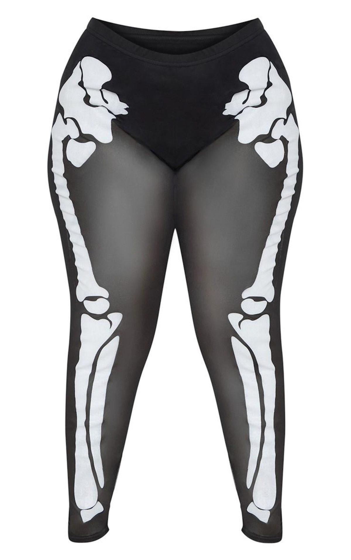 Plus Black Skeleton Print High Waisted Legging