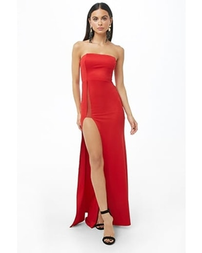 Strapless High-Slit Gown