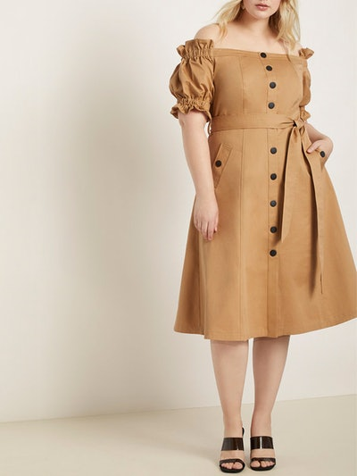 Off-the-Shoulder Trench Dress