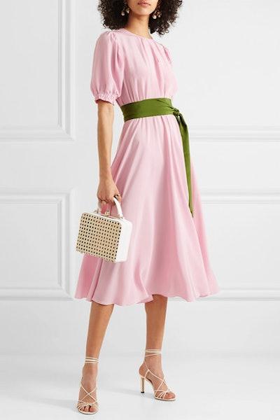 Brooke Belted Silk Crepe de Chine Midi Dress