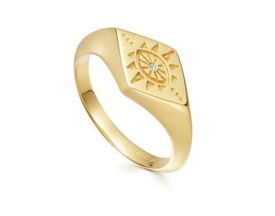 Gold Evil Eye Signet Ring