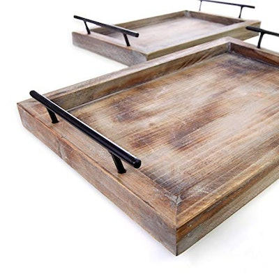 Bison Home Goods Wooden Serving Trays (Set of 2)