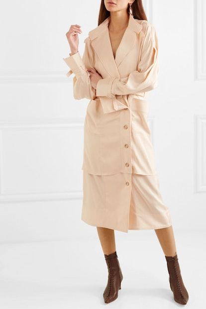 Seya Belted Crepe de Chine Dress