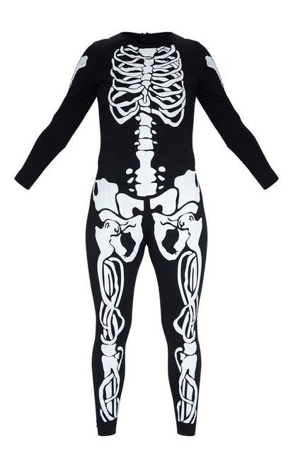 Plus Black Skeleton Print Long Sleeve Jumpsuit