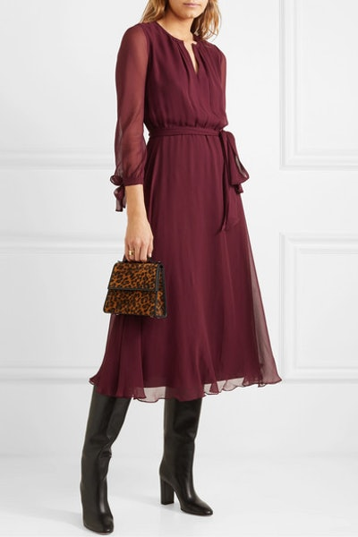 Amanda Belted Silk-Georgette Midi Dress
