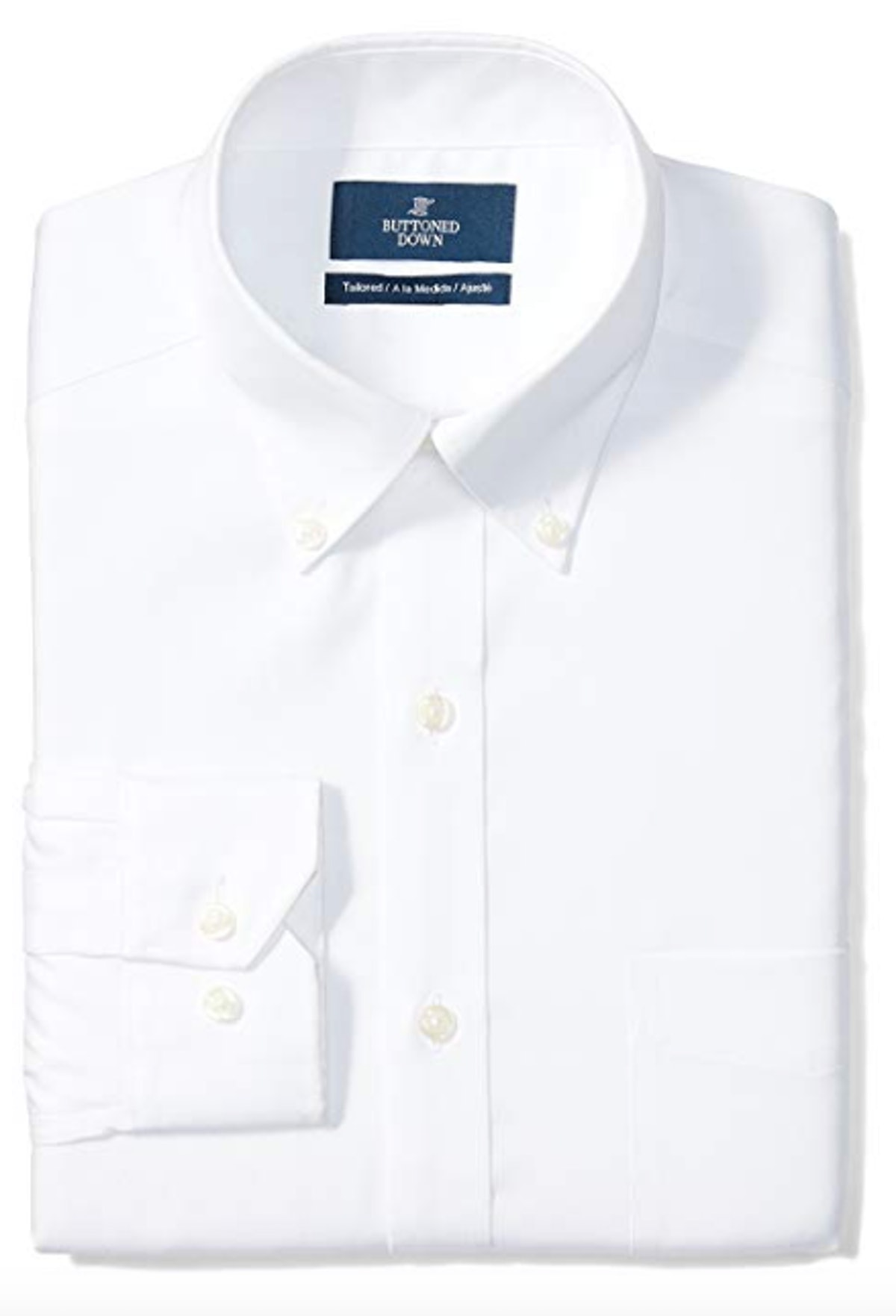 Men's Tailored Fit Button-Collar Solid Pinpoint Dress Shirt