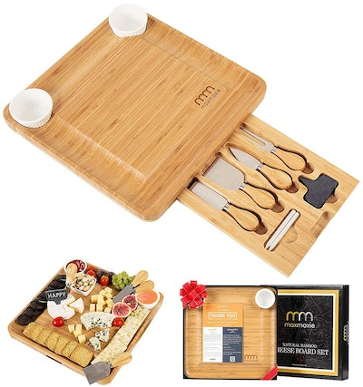 MaxMoxie Bamboo Cheese Board and Cutlery Set