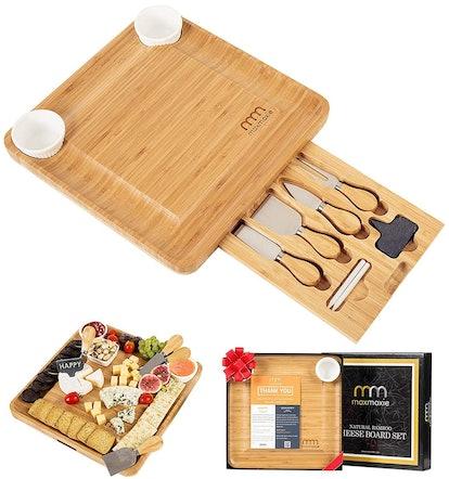 MaxMoxie Bamboo Cheese Board and Cutlery Set