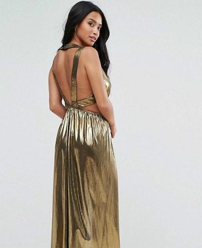 TFNC Petite V Neck Maxi Dress With Pleated Back Panels