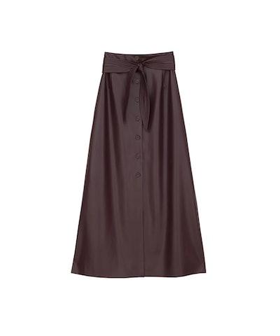 Vegan Leather Quilted Belt Skirt