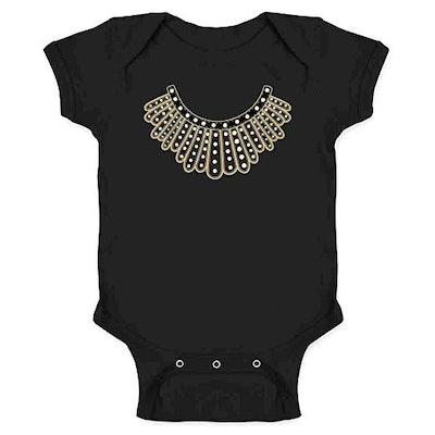 Pop Threads RBG I Dissent Jabot Collar Ruth Bader Ginsburg Infant Baby Boy Girl Bodysuit