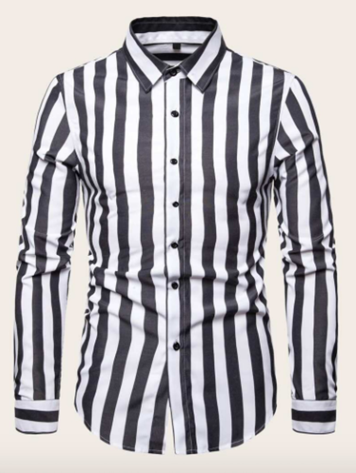 Guys Black & White Vertical-Striped Shirt