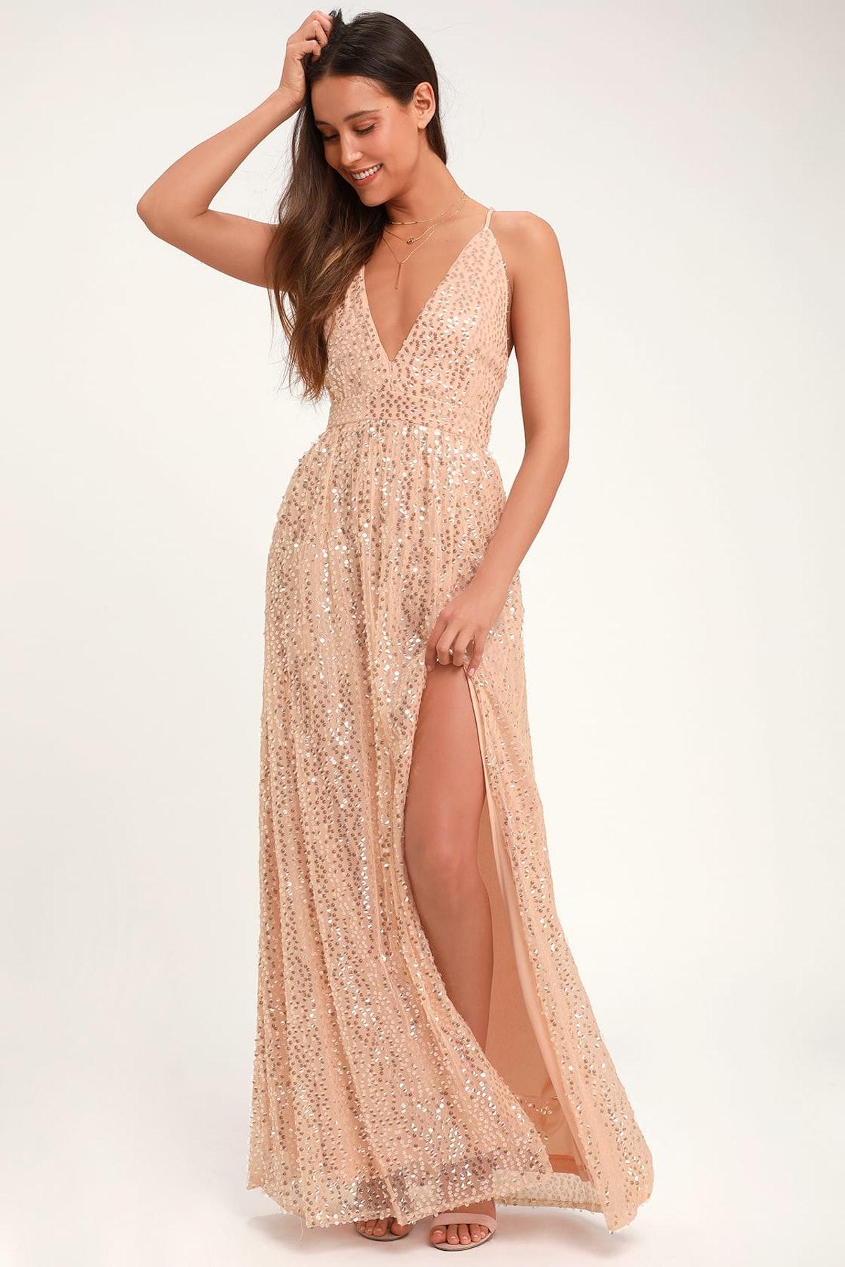 Jane Ann Blush Pink Sequin Maxi Dress