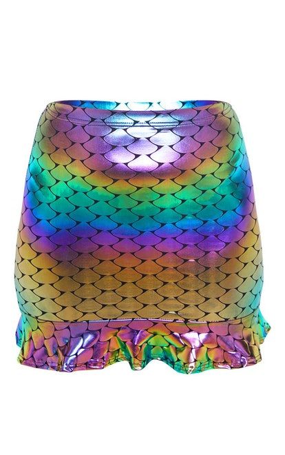 Multi Metallic Mermaid Foil Printed Skirt