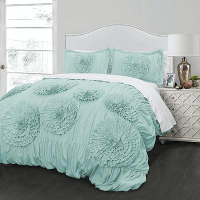 Better Homes and Gardens Ruffled Flowers Handcrafted Comforter & Sham Set