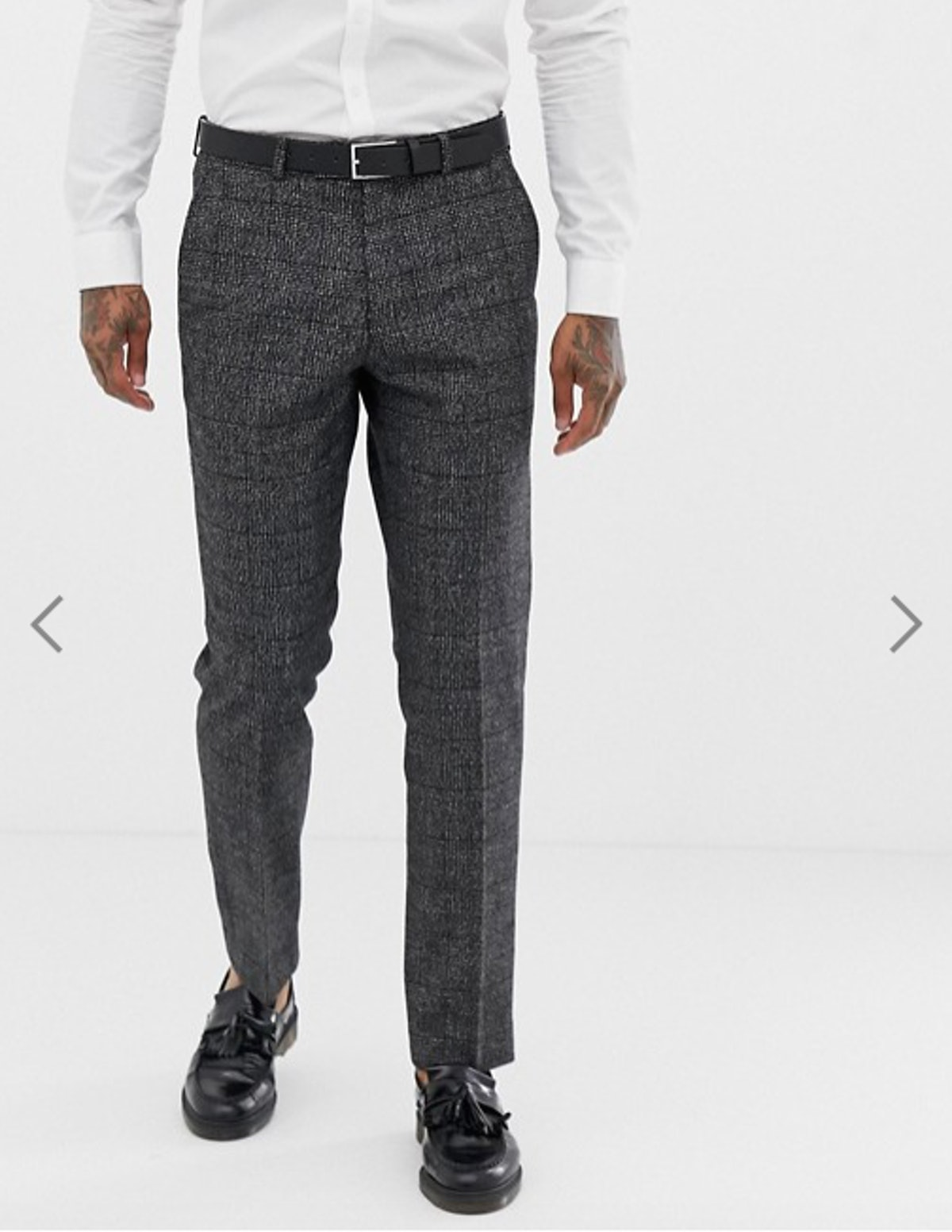 Harry Brown Textured Slim Fit Gray Check Suit Pants