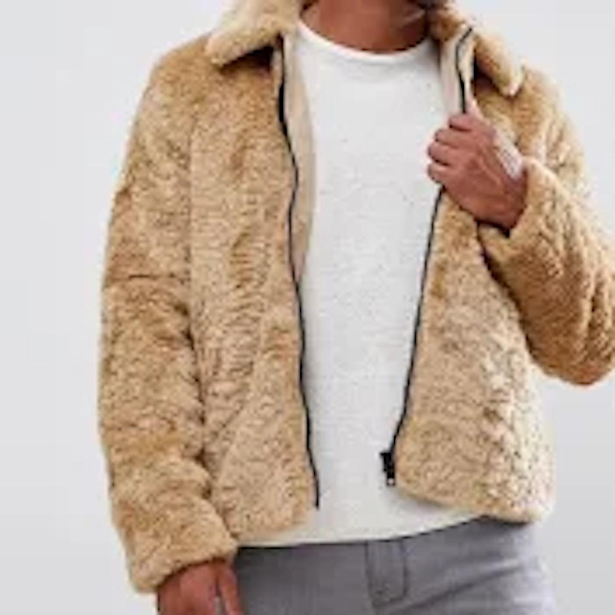 Faux Fur Jacket in Brown