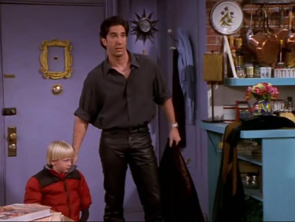 Ross wearing leather pants makes for a classic Friends Halloween costume of his character