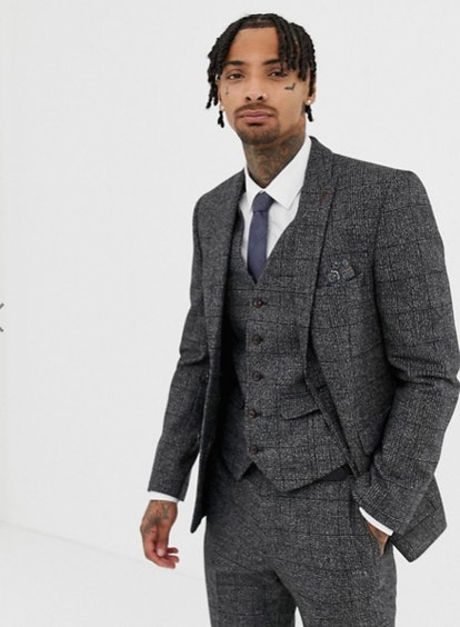Harry Brown Textured Slim Fit Gray Check Suit Jacket