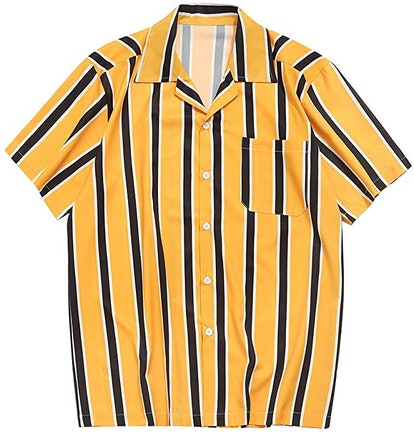 ZAFUL Men's Casual Short Sleeves Color Block Stripes Print Button Up Shirt