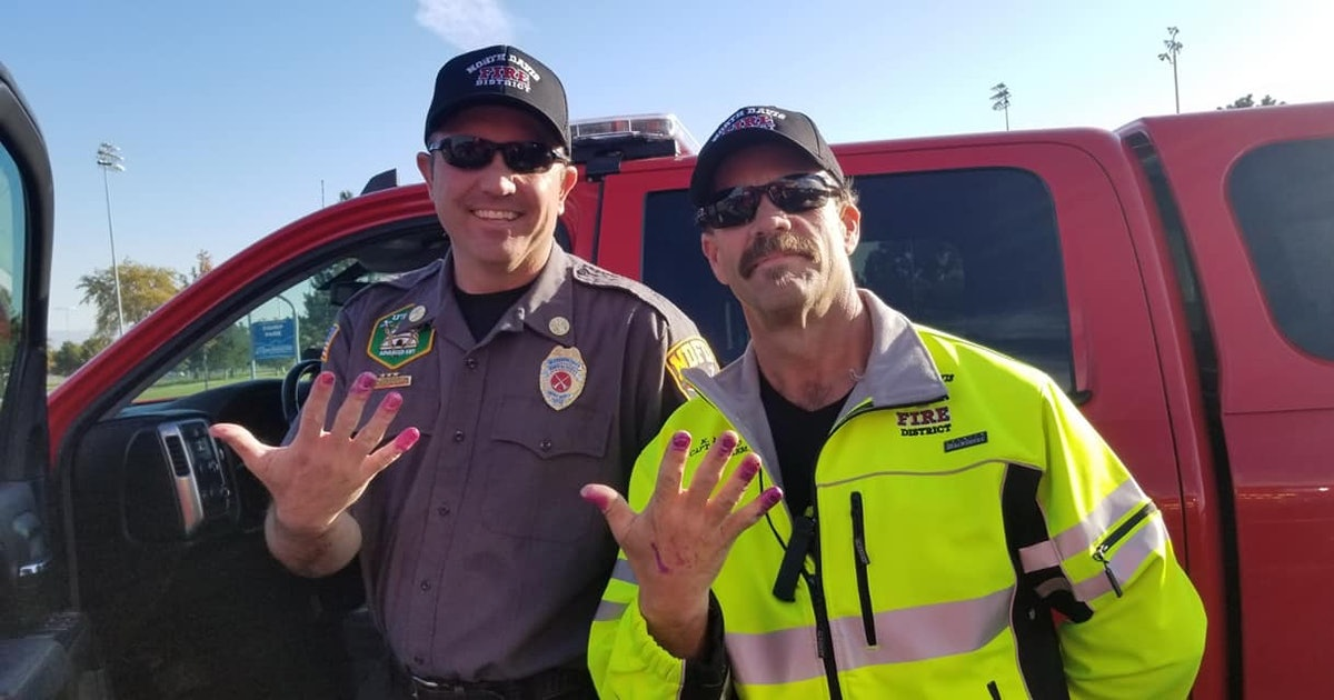Firefighters Calm Toddler Involved In Car Crash By Letting Her Paint Their Nails