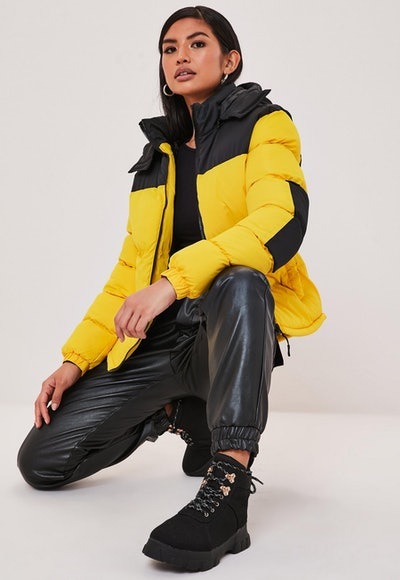 Yellow Colorblock Boyfriend Puffer Jacket