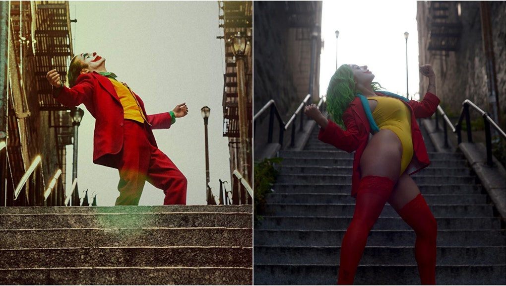 Joaquin Phoenix dances down a staircase in the movie 'JOKER.' A female cosplayer in Joker makeup recreates the pose on a staircase in the Bronx.