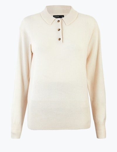 Knitted Wool Rich Polo Shirt With Cashmere