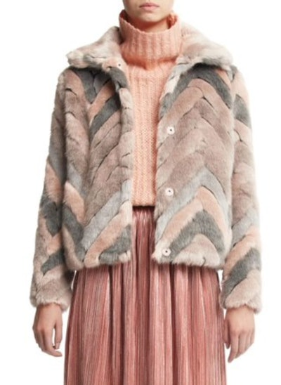 Scoop Faux Fur Multicolor Chevron Jacket