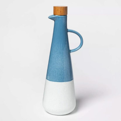 Ceramic Olive Oil Dispenser with Wood Lid