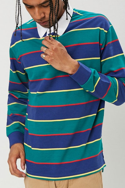 Striped Print Polo Shirt