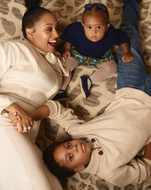 Tia Mowry and her children Cree and Cairo appear in Romper's Holiday Issue 2019.