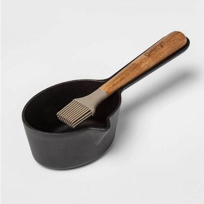 Cast Iron Sauce Pot with Acacia Wood Brush